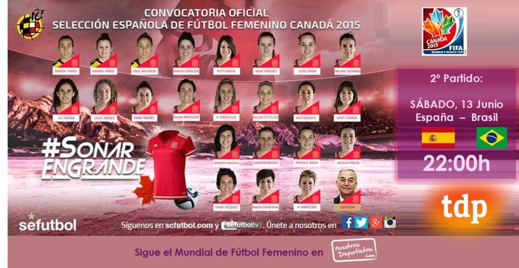 España Brasil Mundial de Futbol femenino canada 2015