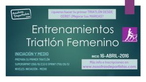 Inicio de los grupos de entrenamientos de Triatlón Femenino – Iniciación