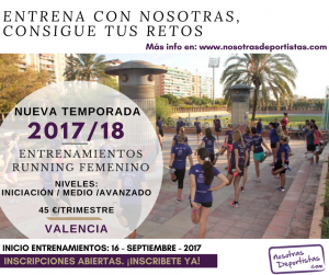 Abiertas inscripciones a los Entrenamientos Running Femenino. Nueva Temporada 2017/18. Inicio Septiembre 2017